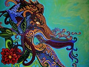 Gargoyle Lions Paintings - Lion Gargoyle by Genevieve Esson
