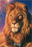 Fireworks Paintings - Lion by Hans Droog