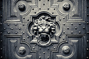 White Lion Posters - Lion Head Door Knocker Poster by Adam Romanowicz
