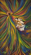 Colors Painting Framed Prints - Lion Framed Print by Kd Neeley