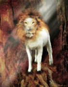 Prophetic Artwork Framed Prints - Lion Lamb Framed Print by Constance Woods