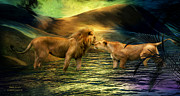 Romantic Art Posters - Lion Lovers Poster by Carol Cavalaris