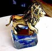 Cats Glass Art - Lion by Mihai Bancila