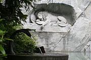 Europe Digital Art Metal Prints - Lion Monument Lucerne Switzerland Metal Print by Greg Sharpe