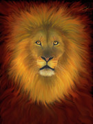 Lion Of Judah Paintings - Lion Of Judah Firey Eyes by Constance Woods