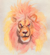 C.s Lewis Digital Art - Lion orange by First Star Art