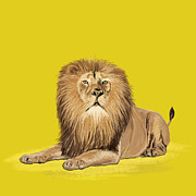 Yellow Pastels - Lion painting by Setsiri Silapasuwanchai
