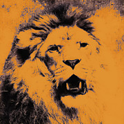 Animals Mixed Media Posters - Lion Pop Art Poster by Angela Doelling AD DESIGN Photo and PhotoArt