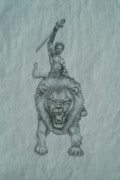 Hip Drawings - Lion Rider by Basheer Alim
