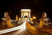 Europe Photo Framed Prints - Lion Sculptures of the Chain Bridge Framed Print by George Oze