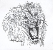 Pen And Ink Drawing Painting Metal Prints - Lion Sings Tonight Metal Print by Meldra Driscoll