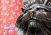 Chinese Red Posters - Lion Statue and Traditional Chinese Background Poster by Valentino Visentini
