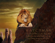 Art Framed Prints - Lion Watchman Framed Print by Constance Woods