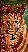 Lion Drawings Originals - Lion with Cub by Stephanie Ward