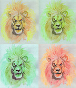 C.s Lewis Digital Art - Lion x 4  by First Star Art