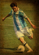 Lionel Messi Kicking Prints - Lionel Andres Messi Argentine Footballer FC Barcelona  Print by Lee Dos Santos