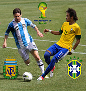 National League Prints - Lionel Messi and Neymar Clash of the Titans Fifa World Cup 2014 and Team Logos Print by Lee Dos Santos