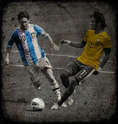Goalie Framed Prints - Lionel Messi and Neymar Clash of the Titans VII Framed Print by Lee Dos Santos