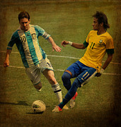 Kicking Posters - Lionel Messi and Neymar Junior Vintage Photo Poster by Lee Dos Santos