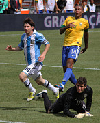 Neymar Photos - Lionel Messi Beats Rafael Cabral by Lee Dos Santos