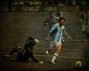Ballgame Prints - Lionel Messi Breaking Raphael Cabrals Ankles  Print by Lee Dos Santos