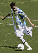Patriot League Posters - Lionel Messi Kicking II Poster by Lee Dos Santos