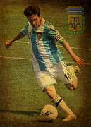 Ballgame Prints - Lionel Messi Kicking IV Print by Lee Dos Santos