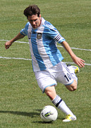 Patriot League Posters - Lionel Messi Kicking Poster by Lee Dos Santos