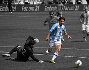 Kicking Posters - Lionel Messi the King Poster by Lee Dos Santos