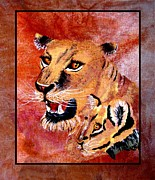 Lion Tapestries - Textiles Framed Prints - Lioness and Cub Framed Print by Sylvie Heasman