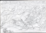 Ancient Rome Drawings - Lioness and Gladiator by Alan Lancaster