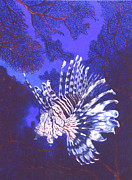 Lionfish Paintings - Lionfish and seafans by Jennifer Belote