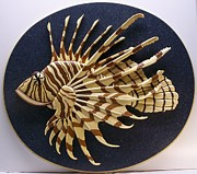 Marine Sculpture Metal Prints - Lionfish Metal Print by Annja Starrett