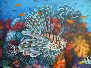 Lionfish Paintings - Lionfish hunting by Jennifer Belote