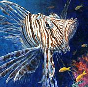 Marine Painting Posters - Lionfish Poster by Jennifer Belote