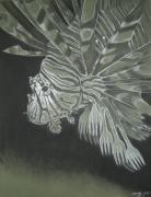 Environment Drawings Prints - Lionfish with Forks Print by Elizabeth Comay
