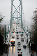 Lions Gate Bridge Posters - LIONS MIST Lions Gate Bridge from Stanley Park Vancouver BC Poster by Andy Smy