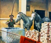 Pastel  Drawings Paintings - Lipizzaner horses on the cistern by Gordana Dokic Segedin