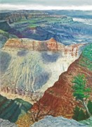 National Parks Paintings - Lipon Point - Grand Canyon by Bob Newman
