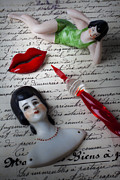 Dolls Posters - Lips pen and old letter Poster by Garry Gay