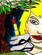 Neo Expressionism Paintings - Lipstick Giant in the Forest by Jason P Doherty