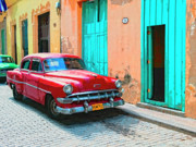 Vintage Car From Cuba Posters - Lipstick Red Poster by Dominic Piperata