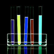 Rack Prints - Liquid In Test Tubes Print by Kevin Curtis