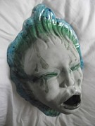 Head Ceramics Prints - Liquid Mask Incense Holder Print by Alicia Meyers