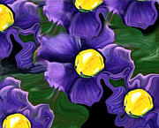 Liquid Painting Prints - Liquid Violets Print by Barbara Griffin