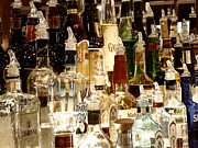Glass Bottle Digital Art Prints - Liquor Bottles Print by Methune Hively