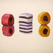 Licorice Painting Prints - Liquorice Allsorts Print by Nikki Rosetti