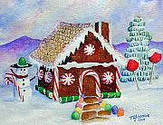 Christmas Card Greeting Cards - Lisas Gingerbread House by Mary Giacomini