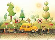 Car Drawings Posters - Lisas Journey02 Poster by Kestutis Kasparavicius