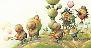 Green Metal Prints - Lisas Journey05 Metal Print by Kestutis Kasparavicius